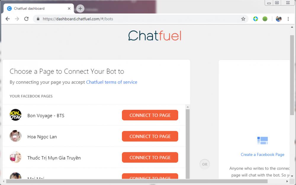 các bước cài đặt chatbot cho fanpage