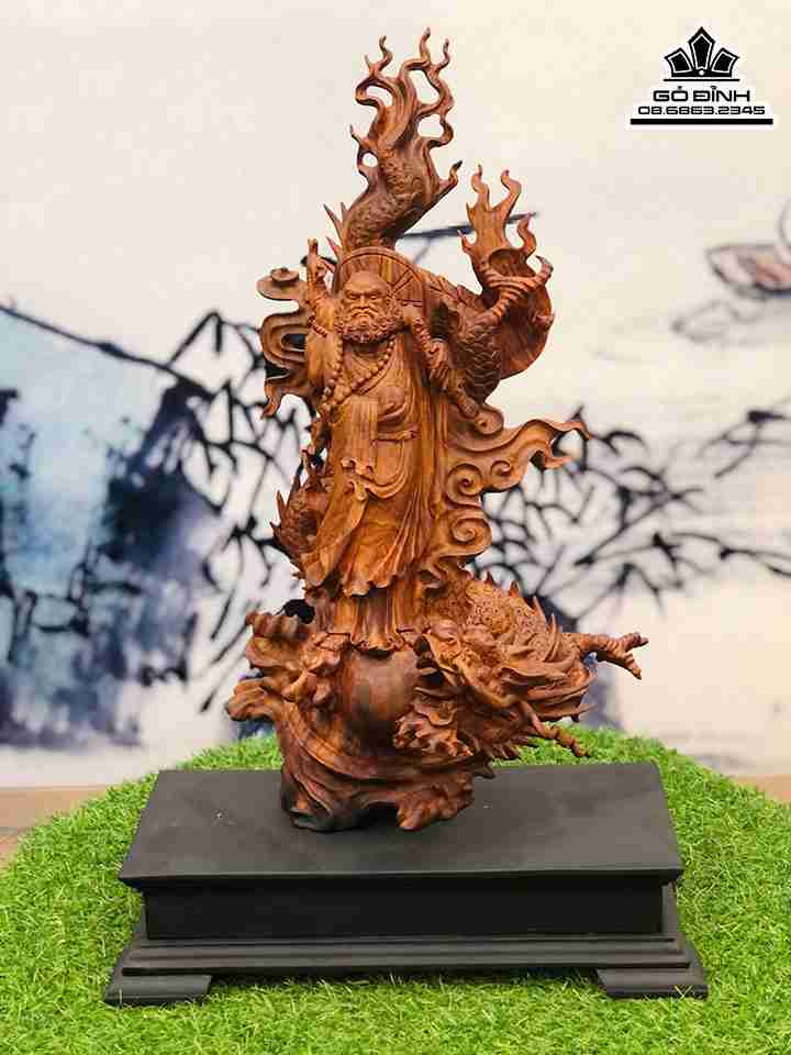 Tượng Đạt Ma Sư Tổ gỗ Hàng Long - trấn trạch, bảo vệ gia chủ